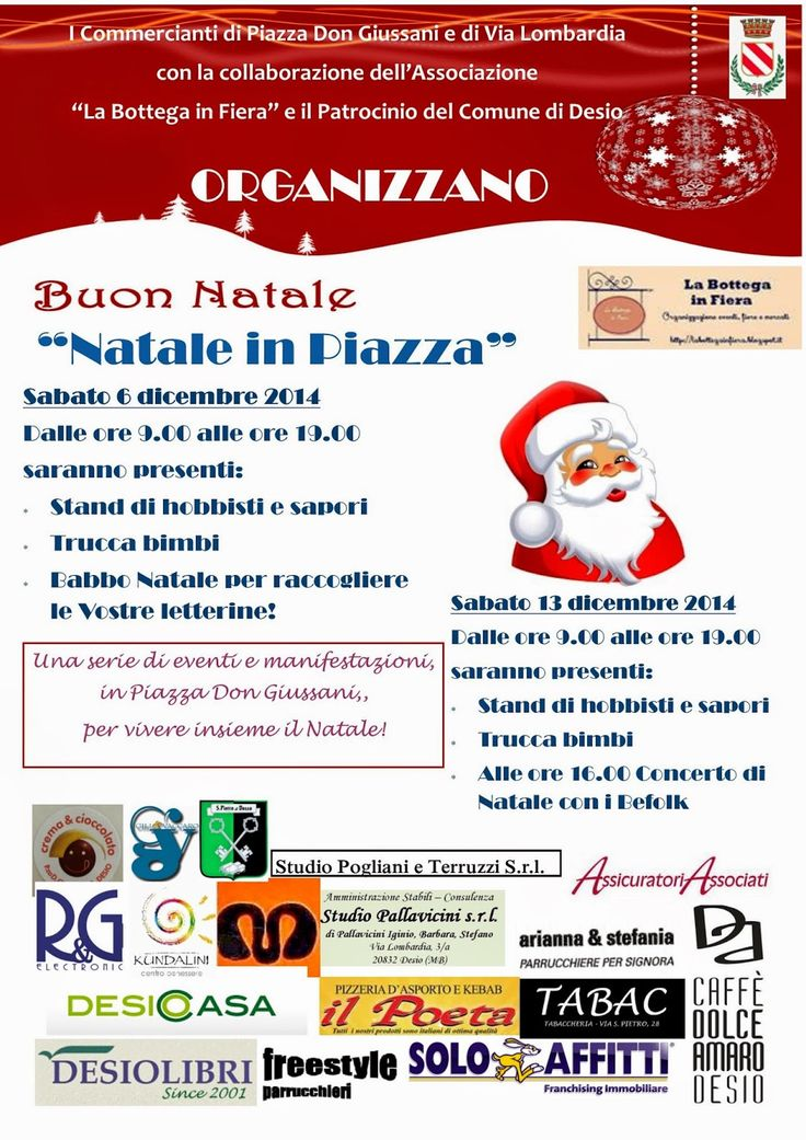 LA BOTTEGA IN FIERA: Vi aspettiamo Sabato 6 dicembre a Desio in Piazza ...