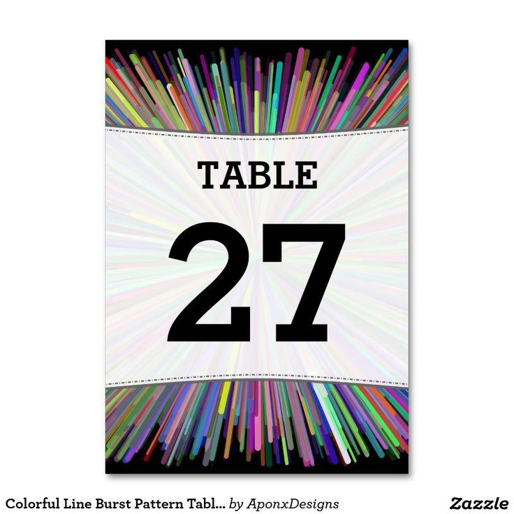 Colorful Line Burst Pattern Table Number Cards