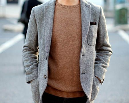 I love summer, but I love men in sweaters too.: Mens Style, Gray Blazers, Men Style, Sweaters Weather, Men Fashion, Fashion Inspiration, Brown Sweaters, Grey Jackets, Father