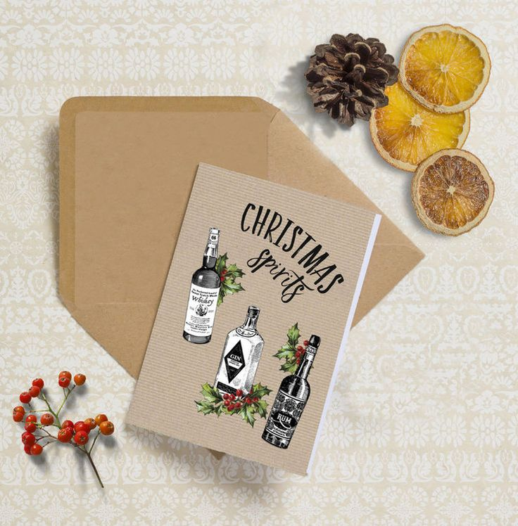 Pack of 24 Christmas Spirits Personalised Cards - Humorous Xmas cards to personalise online, or downloadable to print at home via PDF.