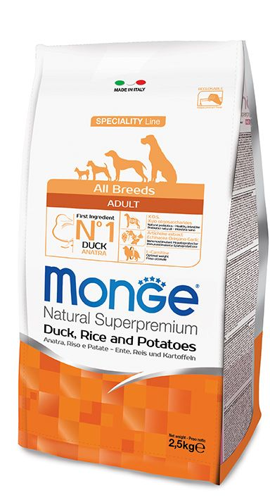 ALL BREEDS ADULT DUCK, RICE AND POTATOES Kibbles Monge Natural Superpremium Speciality Line with Duck, Rice and Potatoes are a complete and balanced food for all breeds adult dogs that require highly digestible foods.