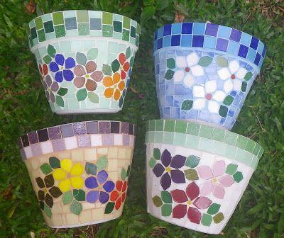 Trabalhos em Mosaico: Vasos em Mosaico !!!