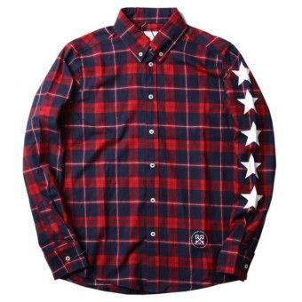 "5 starts for Uniform Experiment! Red/Blue Uniform Experiment ""UE 5 Star Plaid"" Button Up Shirt | http://streetwearhub.com/button-up/uniform-experiment-ue-5-star-plaid-button-up-shirt-red-blue #UniformExperiment #longsleeves #buttonupshirt #streetwear #streetfashion #urbanwear"