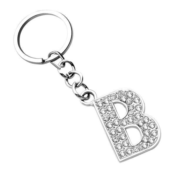 ZOSHI Silver Letter Pendant keychains key rings fashion Crystal key chains  car key holder women bag b6abe8a894