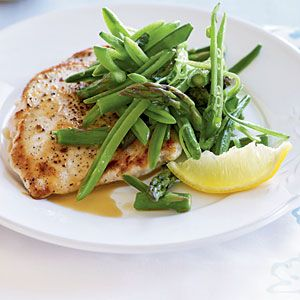 Chicken and Spring Veggies | Chicken Scaloppine with Sugar Snap Pea, Asparagus, and Lemon Salad | CookingLight.com