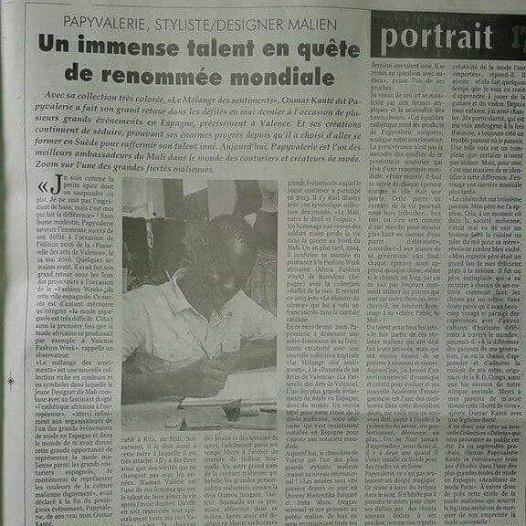 PAPYVALERIE Couturier à la Une des journaux au Mali :  Tout droit reservé au celèbre Journaliste Malien  Moussa Bolly ! Meci infiniment pour cet immense reportage sur ma modeste personne PAPYVALERIE Couturier !  Lisez ou acheter le derniers journal du journal Le Reporter à Bamako !