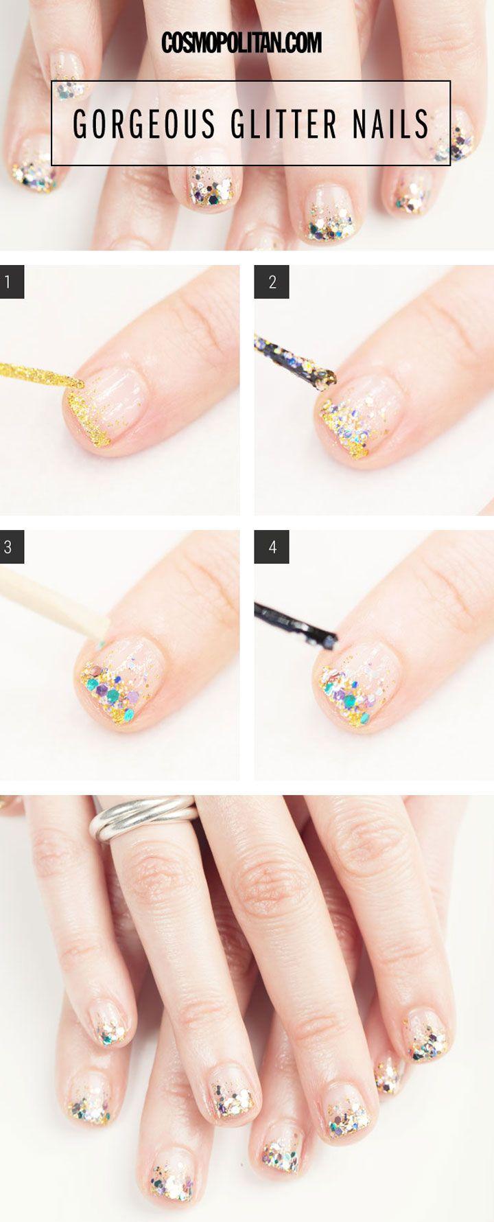 Un poco de paciencia, algo de purpurina y mucha imaginación son los ingredientes necesarios para recrear esta bonita manicura.  #manicura #uñas #tutorial #nails #DIY