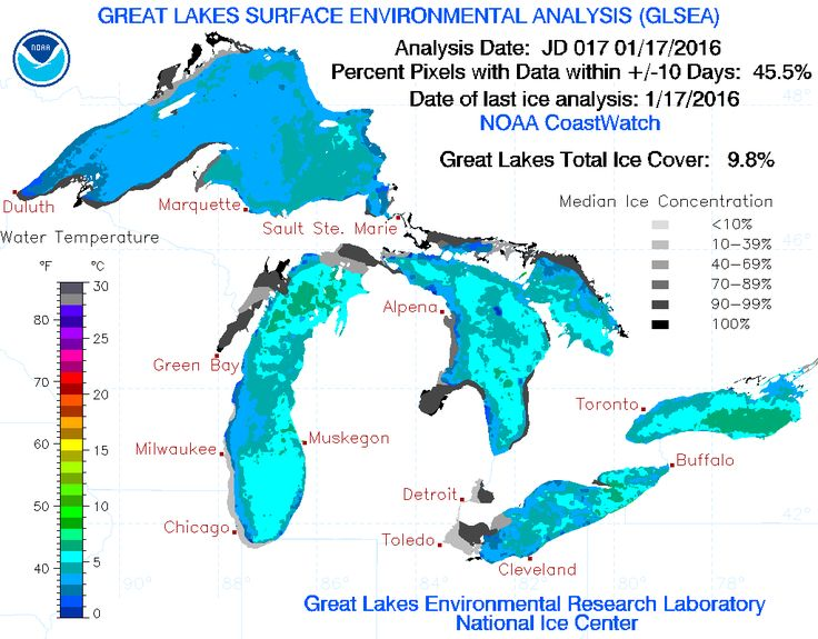 Great Lakes Ice Cover - Color Great Lakes Ice Cover - Gray-scale Historical Annual Maximum Ice Coverage 1973 - 2015 Air Temperature 1 Day Average North America Temperature Animation Water Temperatu...