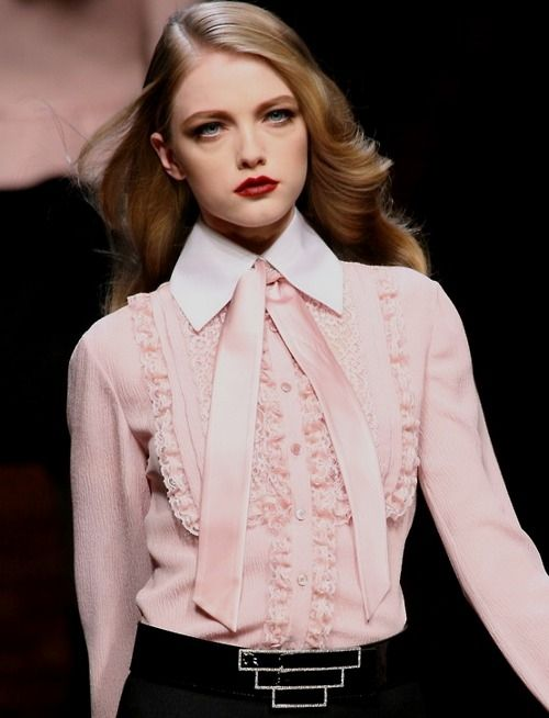 Valentino - pink  The model's hair and makeup, and the outfit remind me of the 80's.