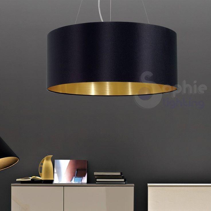Sospensione moderna paralume tessuto oro nero tavolo. Lampadario di medie dimensioni adatto ad illuminare piccoli tavoli da pranzo o living, scrivanie o peni...