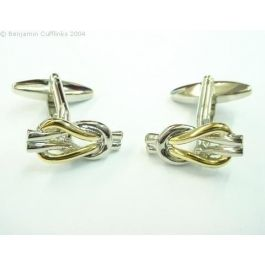 Gold Plated Lovers Knot Cufflinks - These amazing cufflinks have taken the classic symbol of the lovers knot and using the two different colours of the silver and gold they have achieved a remarkable design. Both the cufflinks are identical, and have been given a great polish to increase the aesthetic look of them.