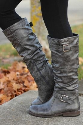 Pewter Grey Double Buckle Boots love these