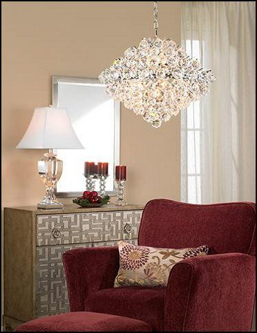 Hollywood Glam Living Rooms   Love The Chandelier And The Burgundy Accents!