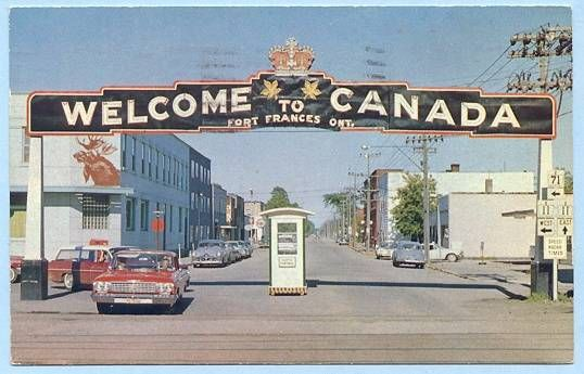 FORT FRANCES, ONTARIO, CANADA, WELCOME ARCH, 1965 POSTMARK — Ancient Tony Vintage PostCards