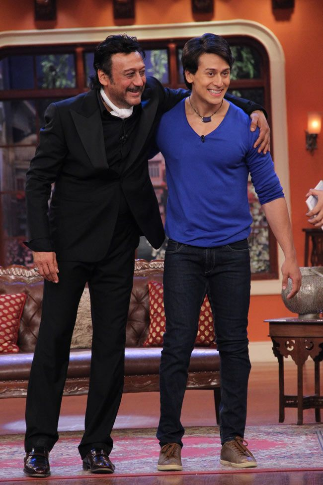 Jackie Shroff and son Tiger Shroff promoting Heropanti on 'Comedy Nights With Kapil' #Style #Bollywood #Fashion #Handsome