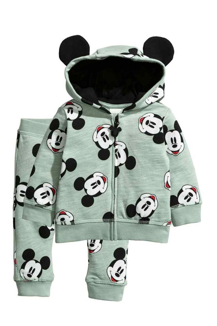 Cotton jacket and joggers - Mint green/Mickey Mouse - Kids | H&M GB
