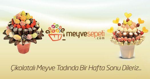 www.meyvesepeti.com Çikolatalı Meyve Tadında Bir Hafta Sonu Dileriz...#meyvesepeti #hediye #meybuketi #fruit #sweet #haftasonu