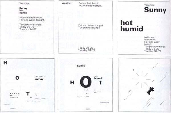 Dan Friedman (instructor) and Rosalie Hanson (student) typographic permutations, 1970. Friedman addressed the problem of teaching the basics of a new typography through syntactic and semantic investigations. Texture, surface, and spatial layering were explored in his work; organic and geometric forms were contrasted.