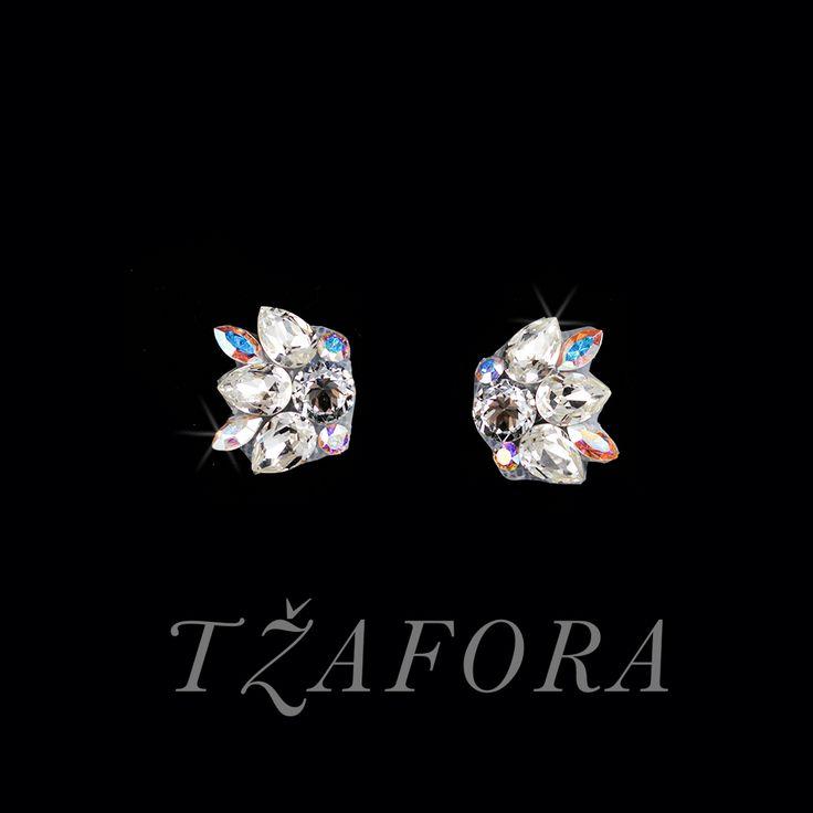 """Tell Me"" - Swarovski ballroom earrings. Ballroom dance jewelry, ballroom dance dancesport accessories. www.tzafora.com Copyright ©️️️️️️️ 2017 Tzafora."