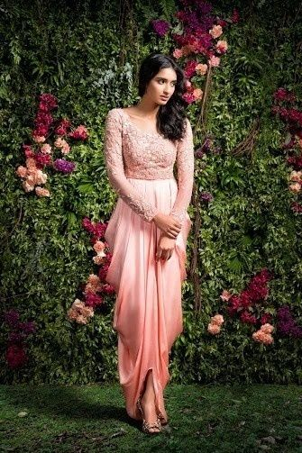 Draped silhouette by Shyamal and Bhumika , ombre silhouette , full sleeved , shaded draped silhouette , friends of the bride ,