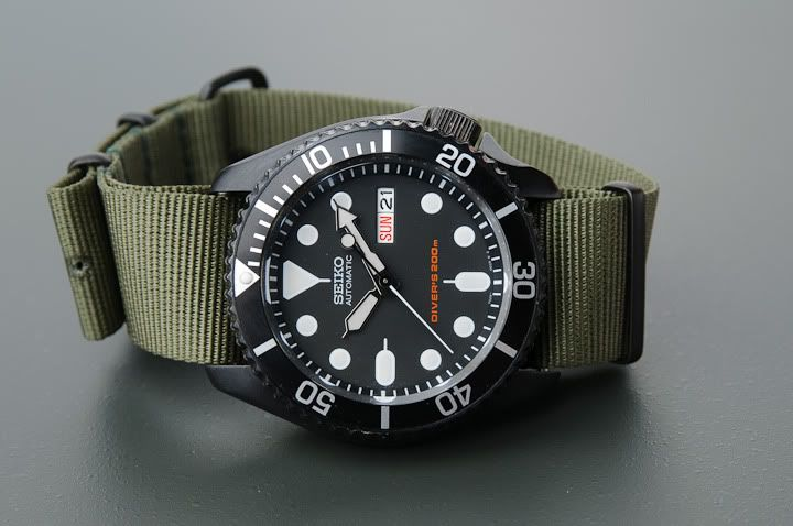 NATO. Incredible 'custom' Seiko Ref. SKX007 'Pro-Hunter'. Purchased from Noah Fuller at 10watches.com. (Click on photo for larger image.) More photos found here: http://forums.watchuseek.com/f21/skx007-pro-hunter-lots-pics-365783.html