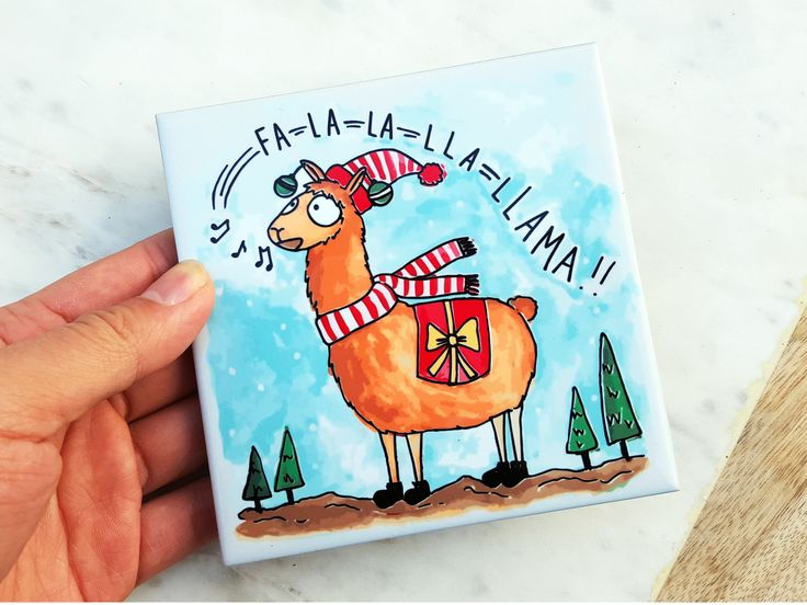 FA LLAMA - Christmas Tile Coaster with Cork Back - Gift for Him/Her, Coworker, Friends, BFF, Grandparents - Christmas Present Idea by THEBRANCHANDTHEVINE on Etsy