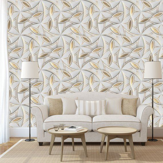 Printmyspace 3d Rustic Wallpaper With Gold Leaf Motifs On A Etsy Rustic Wallpaper Gold Wallpaper Wall Texture Design