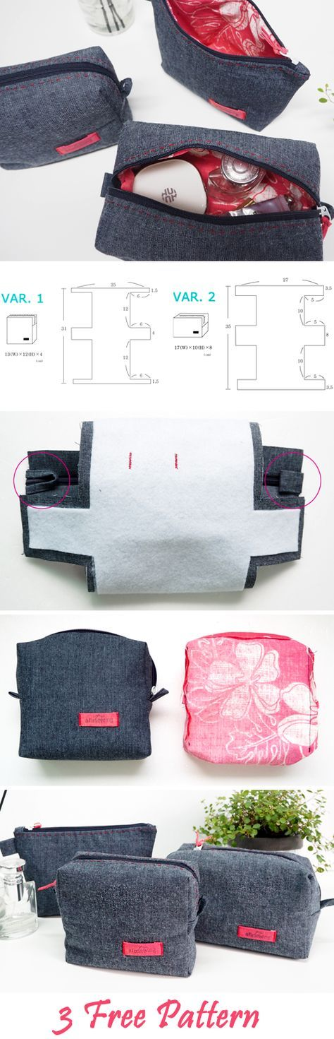 Cosmetic Bags | Makeup Cases DIY Sewing Projects. Pattern & Photo Tutorial http://www.handmadiya.com/2016/12/three-cosmetic-bags-of-jeans.html