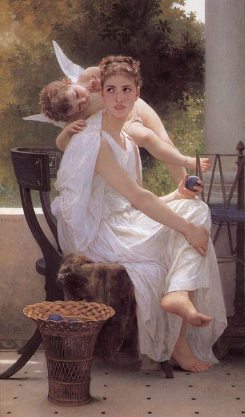 my angel on my shoulder....always.     whisperings of love.... William-Adolphe Bouguereau (1825-1905) - Work Interrupted