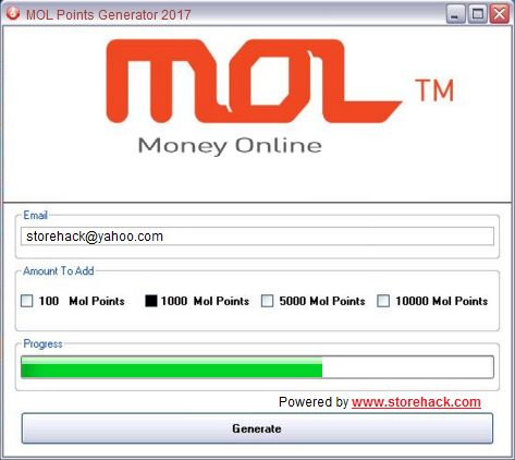 With our latest MOL Points Generator Hack you can generate MOL Points for free and buy features in all MOL Games Shops/Stores.
