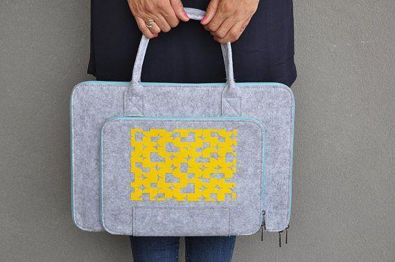 Laptop sleeve macbook pro 15, Laptop bag 15 inch, Felt laptop case, 15 Computer bag, Gray Laptop Briefcase, Grey Macbook bag, Laptop Tote  #laptopbag   #fashion #fashionblogger #bags #boho #bohostyle #tote #totebag #style #styleblogger #fashionista
