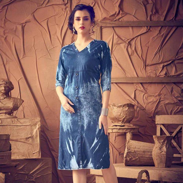Denim Blue Stitched Designer Kurti #womensfashion #denimkurtis #designerkurtis #fashion #washed #shopping #shadedkurti #casualwear #blue #kurtis
