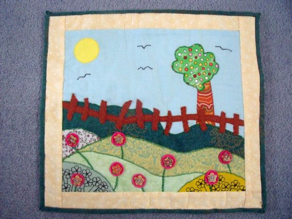 Unique Handmade Appliqued Wall Hanging Quilt  by Fabrilushus, £28.00