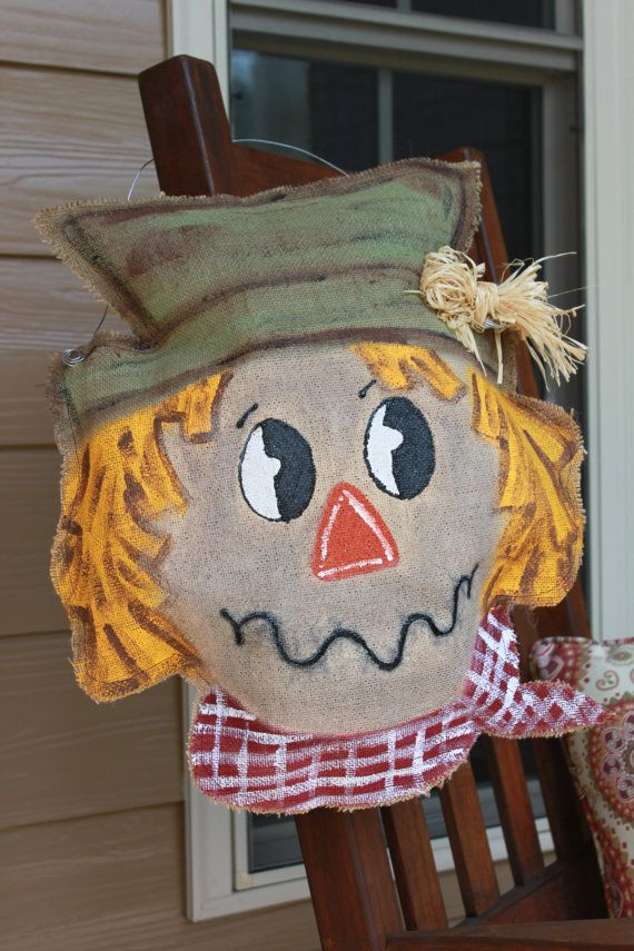 Scarecrow burlap door hanger / Fall door hanger on Etsy, $30.00