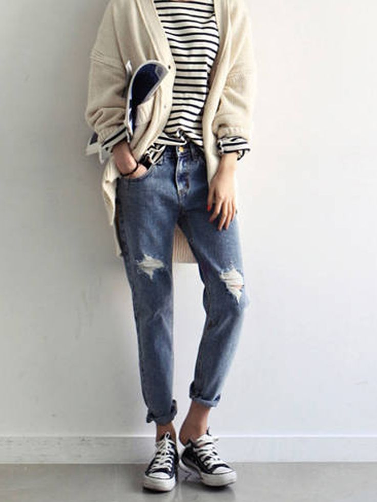 Boyfriend Distressed Ankle Jeans [ AlbertoFermaniUSA.com ] #fall #fashion #style