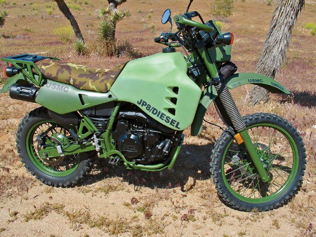 USMC Diesel gas powered motorcycle based off of the Kawasaki KLR650