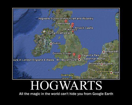 Google Earth has Hogwarts? Holy hell... Must find this (and break the enchantment so that Muggles can see it!)