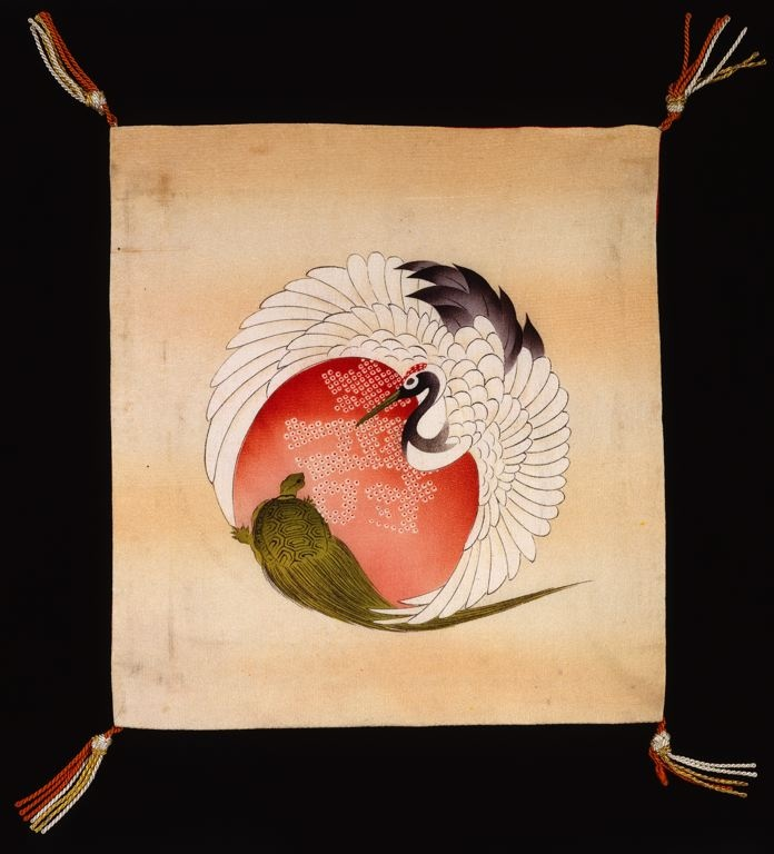 Fukusa (Gift Cover), Early Shôwa period (1926–1989), 1926/40    Woven in one piece (hikikaeshi); Mon side: silk, plain weave, stenciled and resist dyed (yûzenzome: utsushinori yûzenzome, katabitta and bokashizome); Patterned side: silk, plain weave; stenciled and resist dyed (yûzenzome: utsushinori yûzenzome hikizome); corner: rayon and gold-leaf-over-lacquered-paper-strip wrapped rayon and cotton; knotted, re-plied fringe tassels  26.2 X 24.1 cm (10 1/4 x 9 1/2 in.)