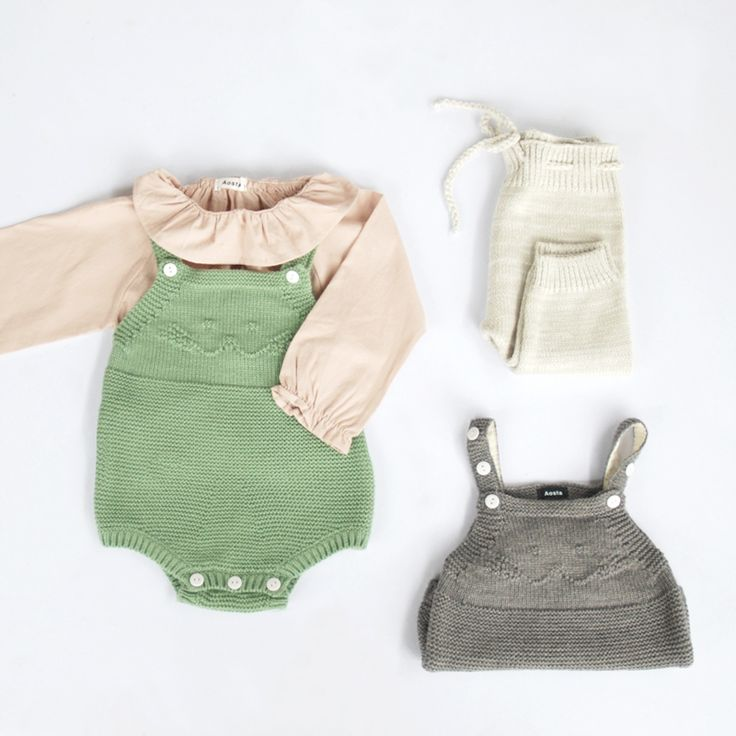 Baby knitted romper and ruffles blouse