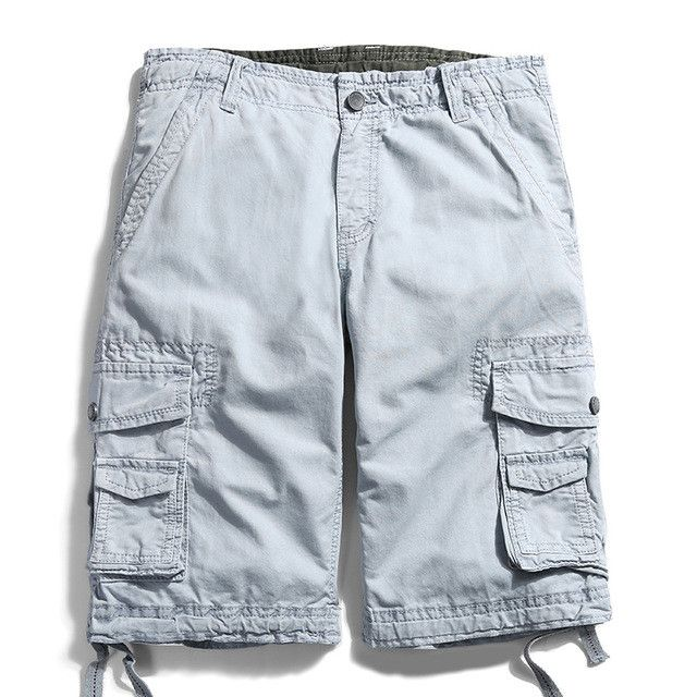 Mens Military Tactical Cargo Shorts Cotton Loose Casual Summer High Quality Army Short Pants Knee Length Solid 12 Colors FH3231