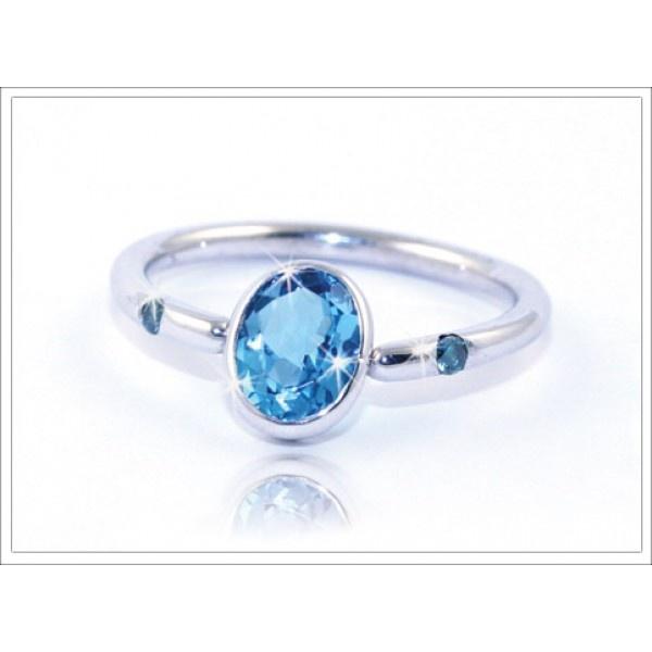 Platinum and Blue Topaz Closure Ring