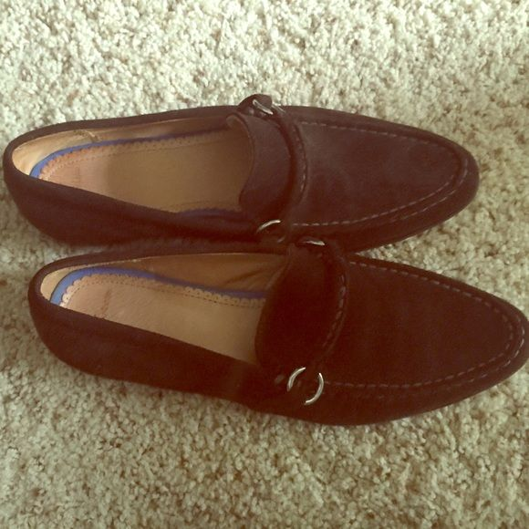 Brown Suede Loafers with small silver buckle. These classic brown suede loafers have been sitting in my closet after wearing only once. Time for them to get a new owner. From Lands End. Lands' End Shoes Flats & Loafers