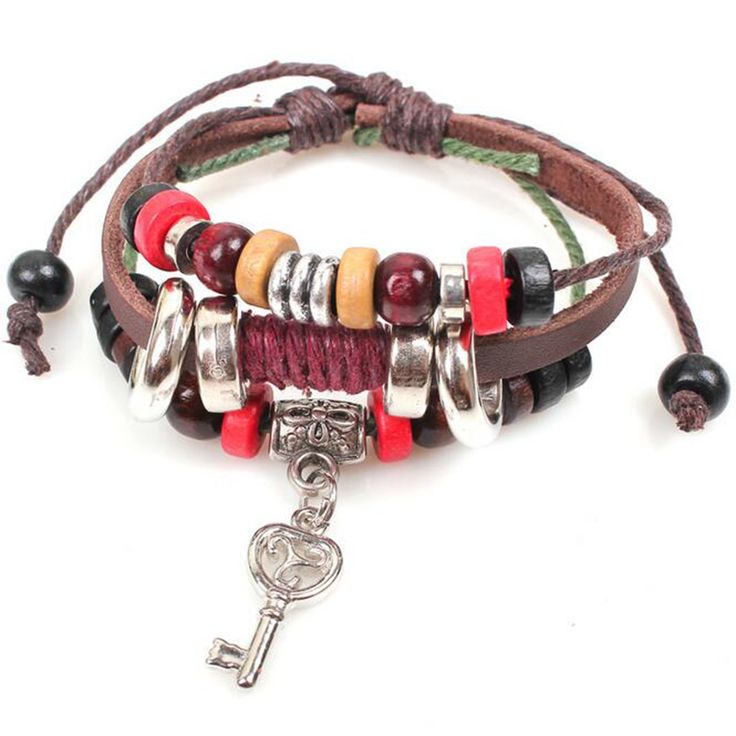 New Arrival Vintage Look Multilayer Beads Rope Leather Bracelets&Bangles Key Charm Wristband Men Jewelry Gift QNB1