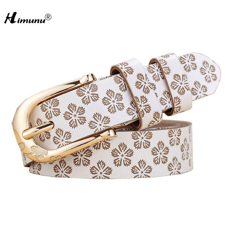[HIMUNU] 2015 Cintos Femininos Fashion 100% Genuine Leather Women Belts Metal Pin Buckle Leather Belts For Women