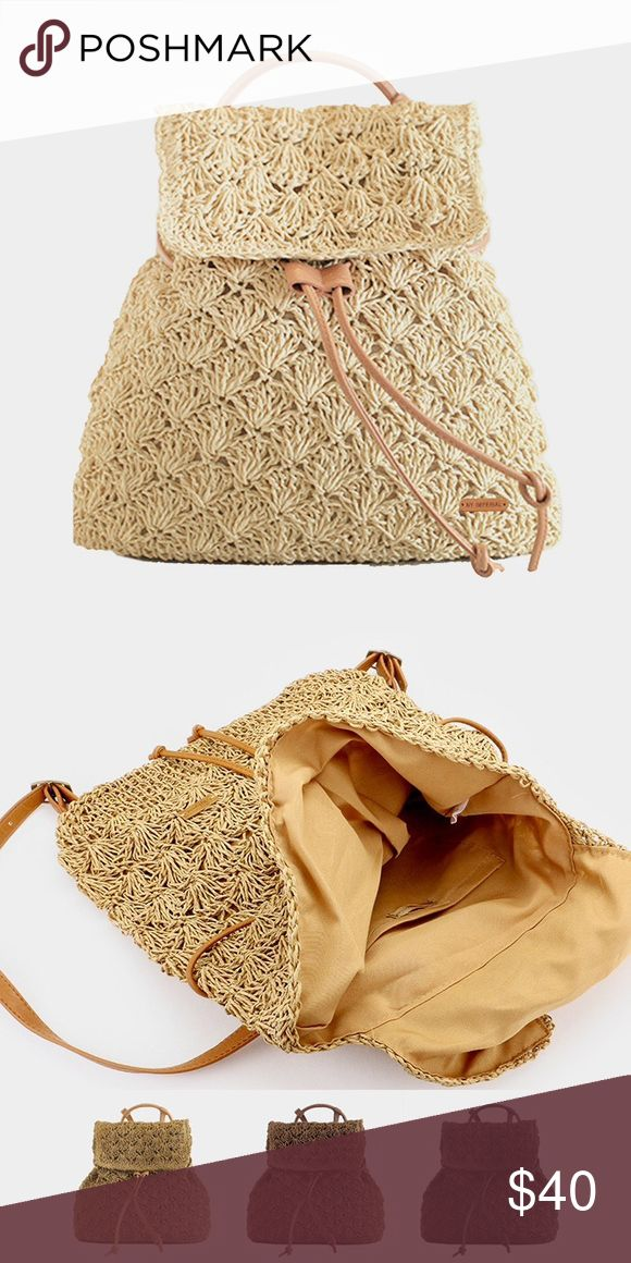 """Crochet Backpack Bag • Size : 12"""" X 16"""" X 5"""" / Adjustable • Lining : 100% Polyester • Magnetic snap closure • Crochet straw backpack bag Bags"""