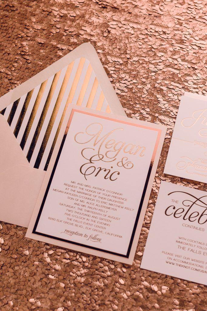 Wedding Invitations Rose Gold Foil Patterned Modern