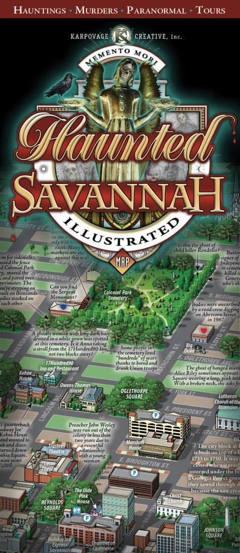Savannah, Georgia, Haunted Map by Karpovage Creative, Inc.