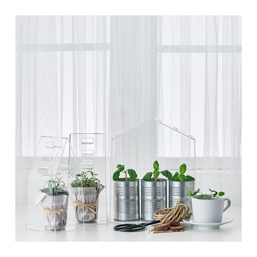 "IKEA - VINDRUVA, Greenhouse, set of 3, $9.99. May be completed with ribbon to secure the top section to the base. Contents: 1 large greenhouse (height 11"", width 9 1/2"", depth 4 3/4"") and 2 small greenhouses (height 9 1/2"", width 4 1/2"", depth 4 1/2"")."