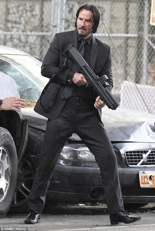 Quiet on set: Keanu Reeves films a scene for new movie John Wick on Friday