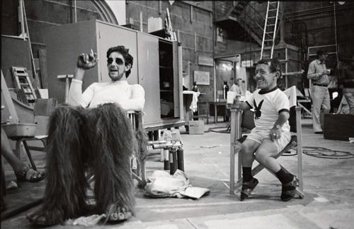 """gameraboy: """" Peter Mayhew and Kenny Baker take a break on the set of The Empire Strikes Back (1980) """""""
